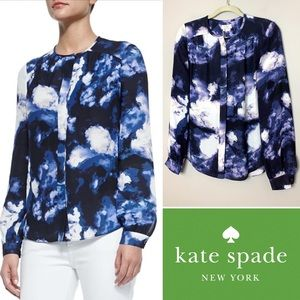 Kate Spade Blue Dusk Clouds Crepe Blouse Size 4